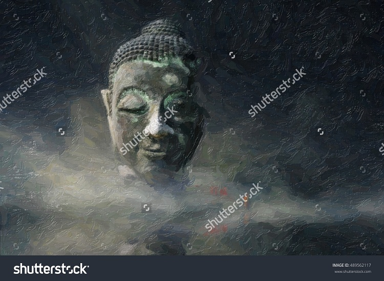 digital oil painting buddha head in the mist surreal style Images that Create and Energise New Neural Paths
